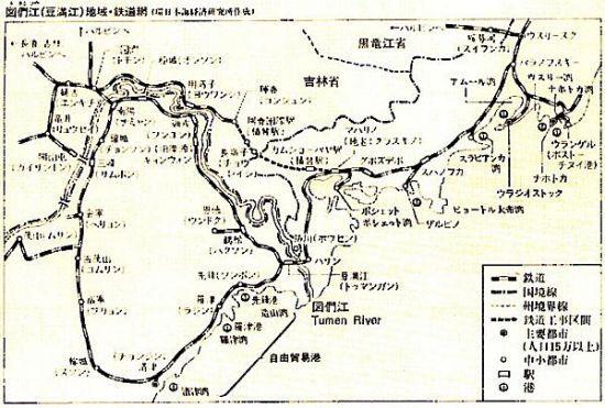 図3.4 中国図們江周辺の鉄道網
